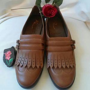 A2 By Aerosoles Kiltie Loafers Dark Tan Size 10.5